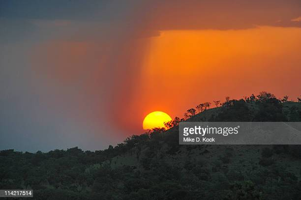 sun setting behind boma national park hills, boma-jonglei state, south sudan - south sudan stock pictures, royalty-free photos & images