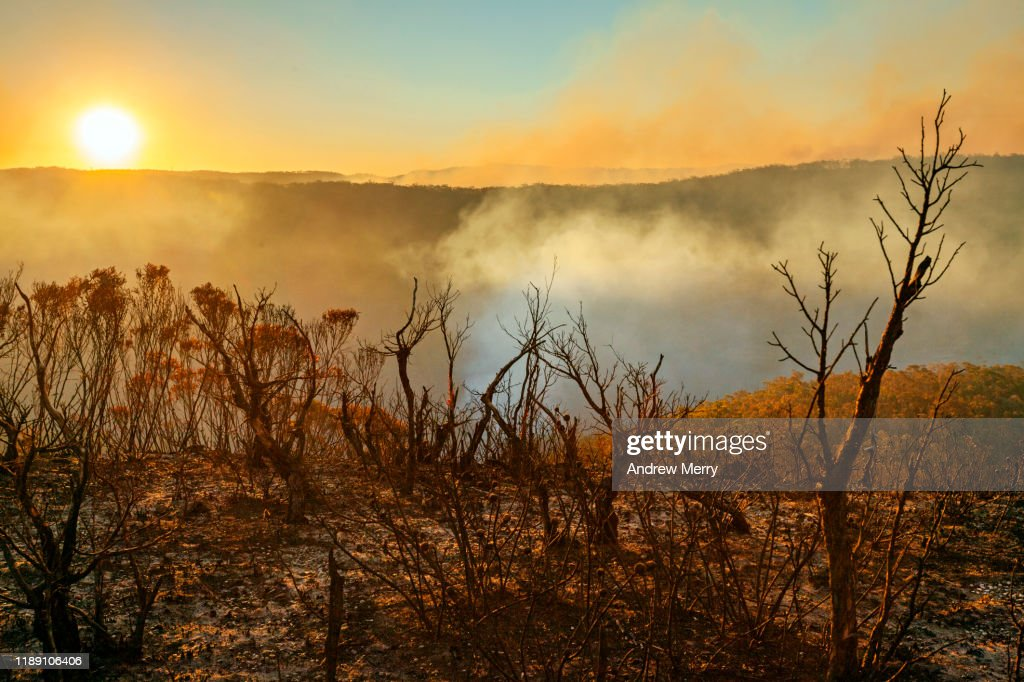 Sun setting in burnt smouldering mountain landscape with smoke filled valley after forest fire, bushfire in Blue Mountains, Australia : Stock Photo