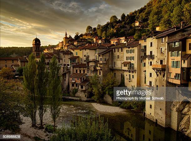 Sun setting on the 'hanging houses' of Pont-en-Royans, France