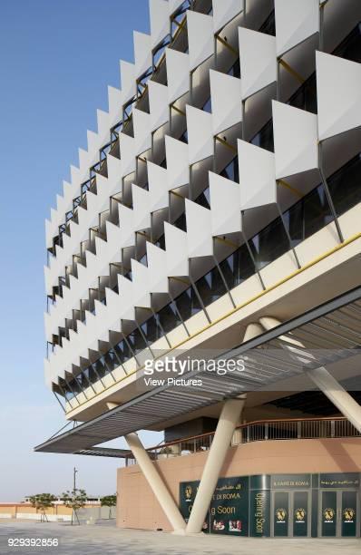 Sun shading system of exterior facade. Siemens Masdar, Abu Dhabi, United Arab Emirates. Architect: Sheppard Robson, 2014.