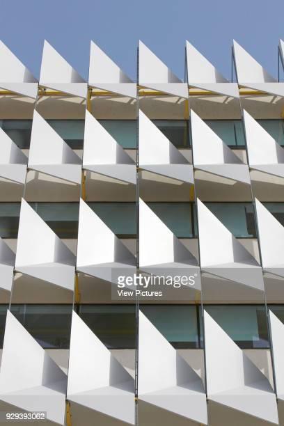 Sun shading system. Siemens Masdar, Abu Dhabi, United Arab Emirates. Architect: Sheppard Robson, 2014.