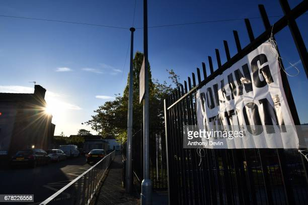 Sun shines as a sign directs to a polling station in Goldborne on May 4 2017 in greater Manchester England Six new metro Mayors will be elected today...