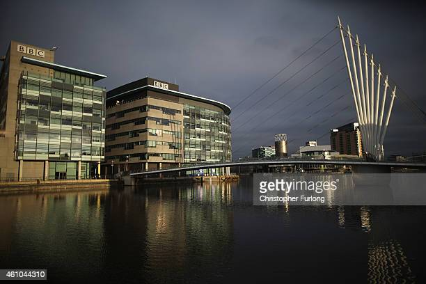 Sun shines on the buildings at Media City in Salford Quays which is home to the BBC ITV television studios and also houses many media production...
