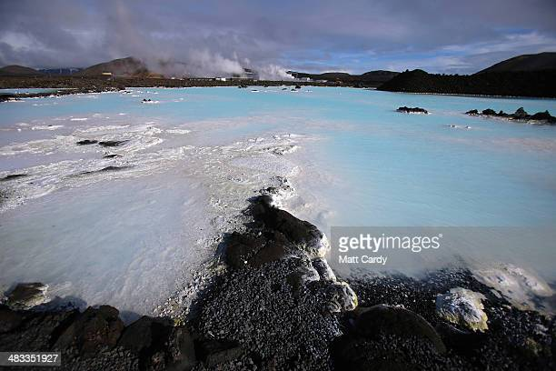 Sun shines on the surrounding geothermal waters at the Blue Lagoon close to the Icelandic capital on April 7 2014 in Reykjavik Iceland Since the...