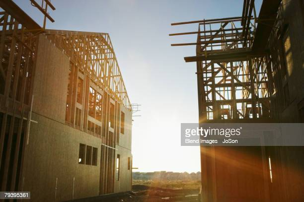 Sun shining on residential construction site