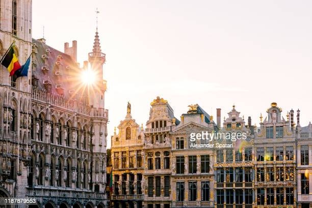 sun shining through historic buildings at grand place in brussels, belgium - belgian culture stock pictures, royalty-free photos & images