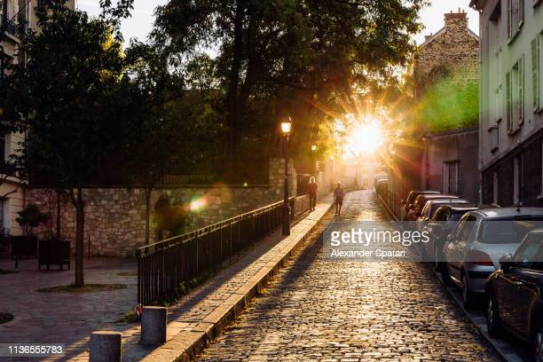 sun shining through the trees on the cobblestone street in paris, france - matin photos et images de collection