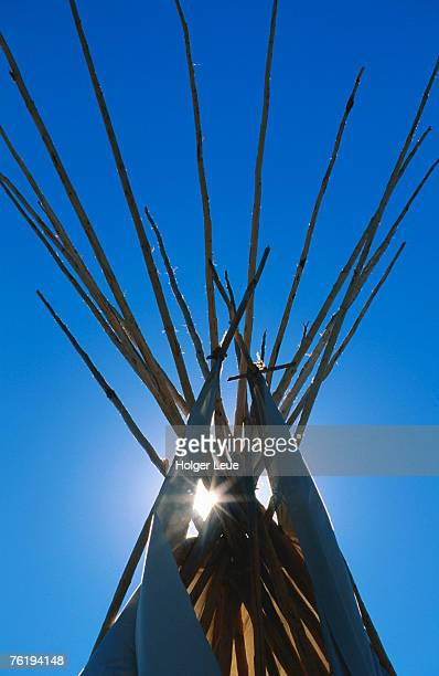 Sun shining through top of teepee, North American Indian Days, Browning, Montana, United States of America, North America