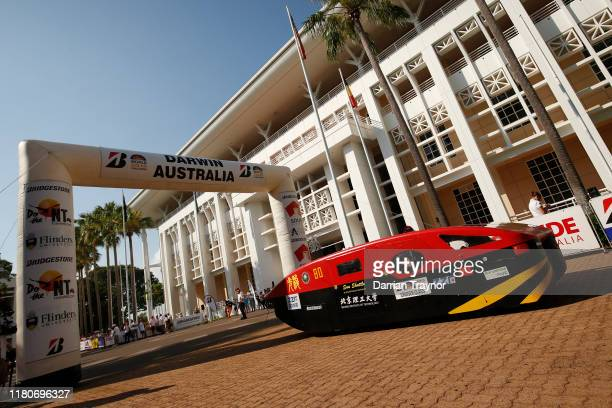 Sun Shuttle' from China tales off on Day 1 of the 2019 Bridgestone World Solar Challenge at State Square in Darwin, Australia on October 13, 2019....