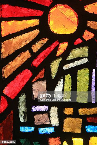 sun. stained glass window. basilica of the annunciation. - stained glass stock pictures, royalty-free photos & images