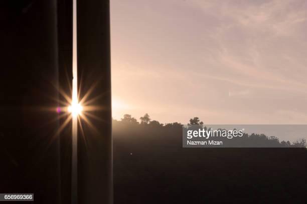 A sun stars was captured during sunrise.