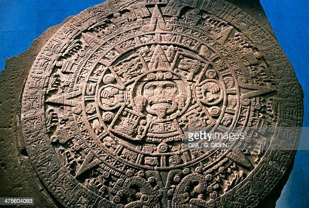 Sun Stone or Aztec Calendar Stone found in Tenochtitlan in 1789 Mexico Azteca Civilisation 15th century Mexico City Museo Nacional De Antropología