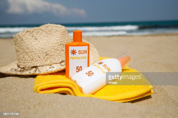 Sun Tan Lotion on a Beach