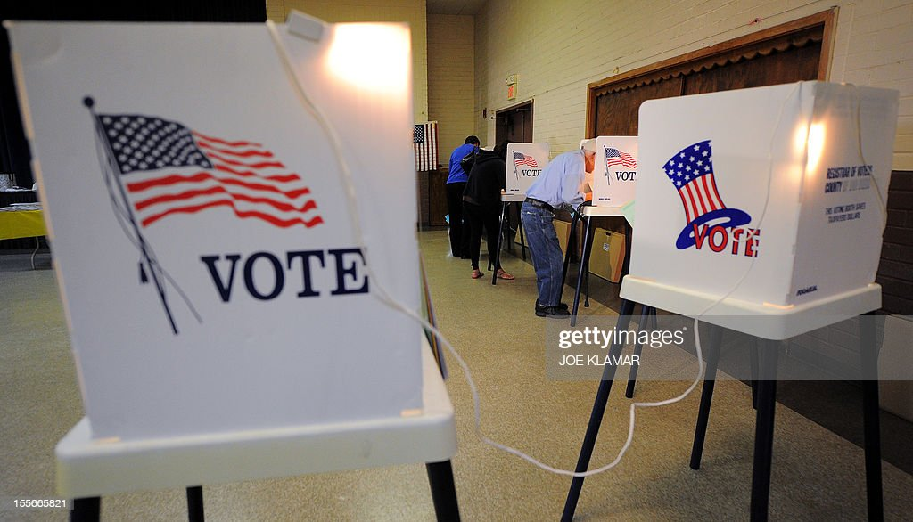 Sun Valley residents vote at the polling station located at Our Lady of The Holy Church on election day at the Sun Valley's Latino district, Los Angeles County, on November 6, 2012 in California.