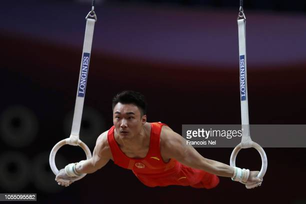 Sun Wei of China competes in the Men's rings during day 5 of the 2018 FIG Artistic Gymnastics Championships at Aspire Dome on October 29 2018 in Doha...