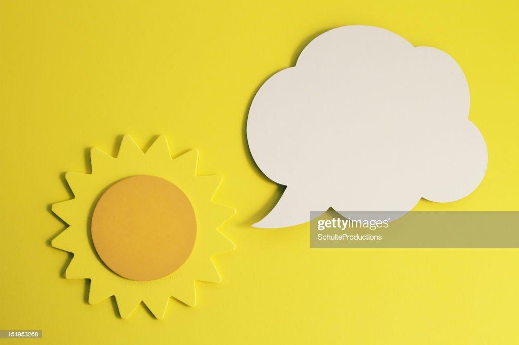 Sun with Cartoon Balloon : Stock Photo
