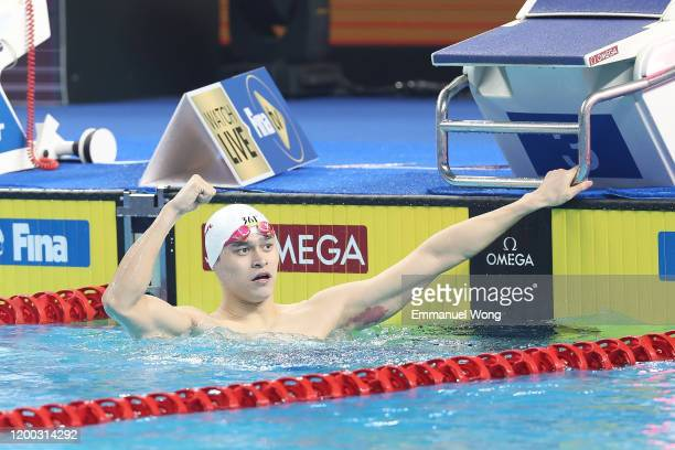 Sun Yang of China celebrates after winning the Men´s 200m Freestyle final race during day one of the FINA Champions Swim Series 2020 on January 18...