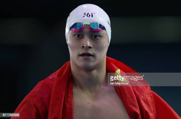 Sun Yang of China celebrates winning the Men's 400m Freestyle during day ten of the FINA World Championships at the Duna Arena on July 23 2017 in...