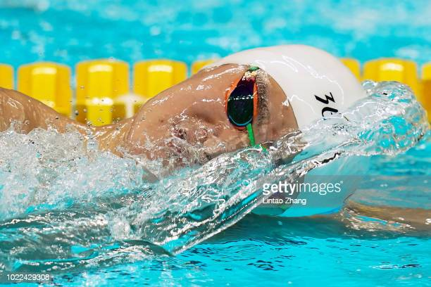 Sun Yang of China competes in the final of men's 1500m freestyle swimming event on day six of the Asian Games on August 24 2018 in Jakarta Indonesia