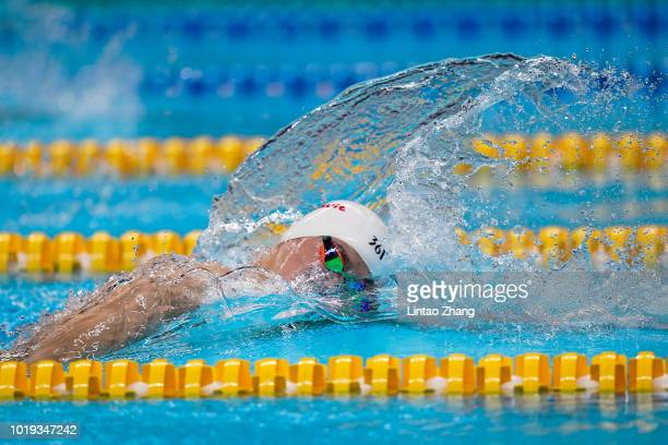 Sun Yang of China competes in the Men's 200 meters freestyle final on day one of the Asian Games on August 19, 2018 in Jakarta, Indonesia.