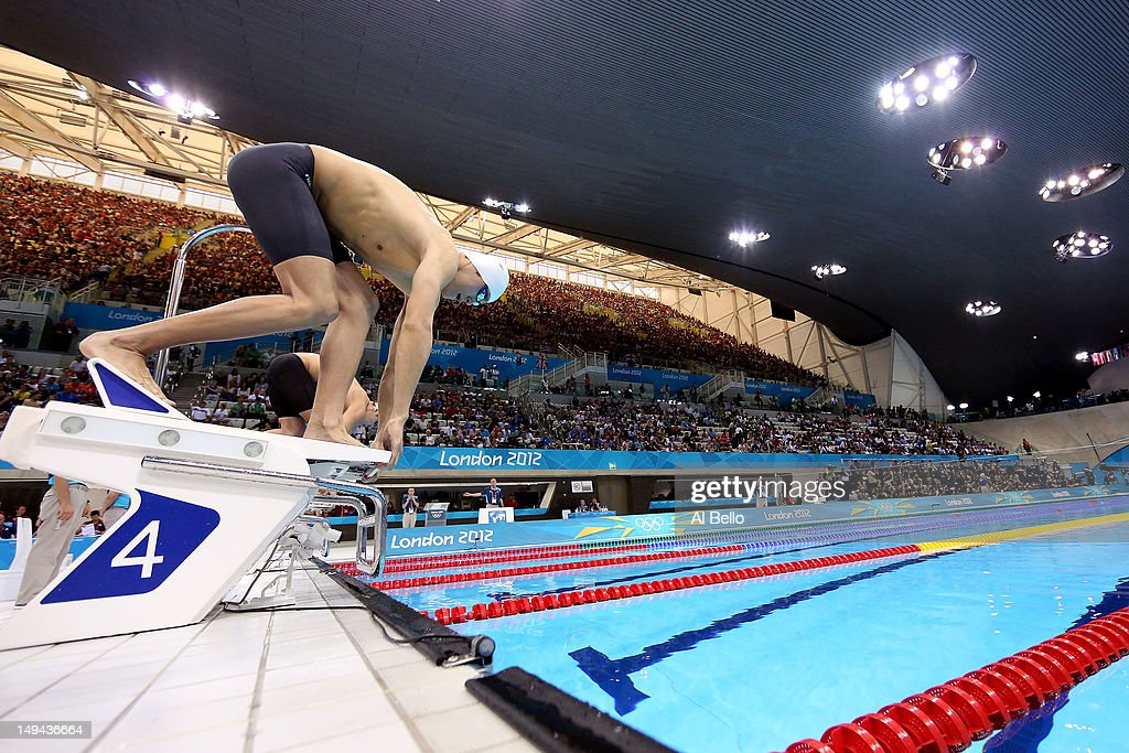 Sun Yang Of China Gets Set On The Starting Block Prior To The Start Of Heat