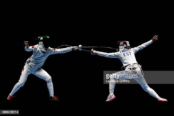 Sun Yiwen of China competes against Irina Embrich of Estonia during a Women's Epee Team Semifinal bout on Day 6 of the 2016 Rio Olympics at Carioca...