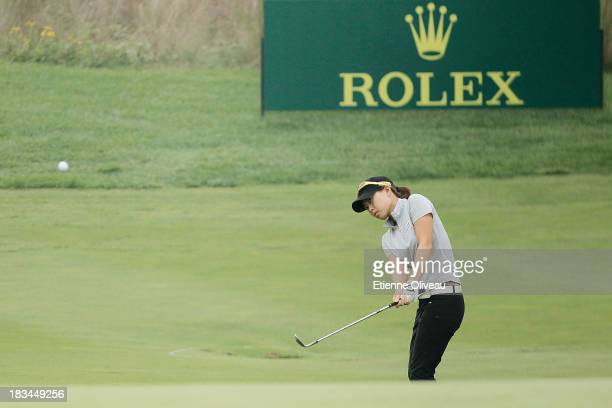 Sun Young Yoo of South Korea hits an approach shot during the final round of the Reignwood LPGA Classic at Pine Valley Golf Club on October 6 2013 in...