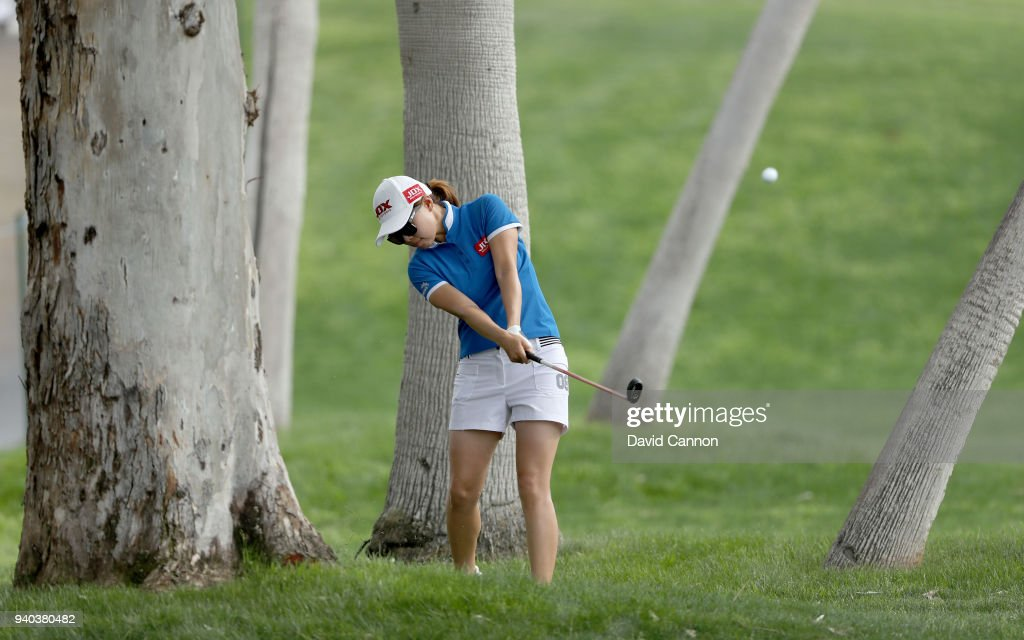 Sun Young Yoo of South Korea plays her second shot on the par 5, 18th hole during the third round of the 2018 ANA Inspiration on the Dinah Shore Tournament Course at Mission Hills Country Club on March 31, 2018 in Rancho Mirage, California.