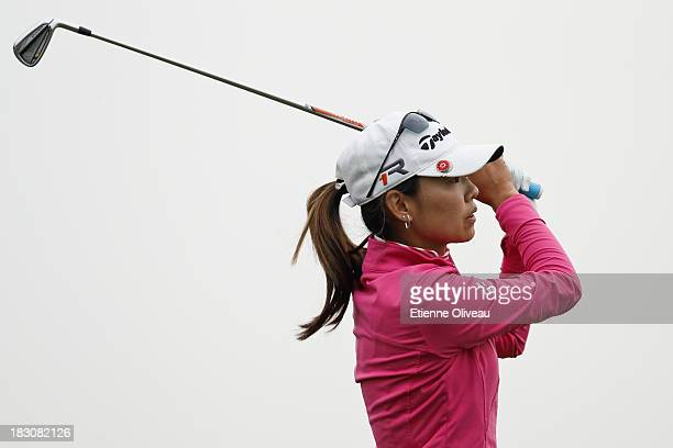 Sun Young Yoo of South Korea tees off during the second round of the Reignwood LPGA Classic at Pine Valley Golf Club on October 4 2013 in Beijing...