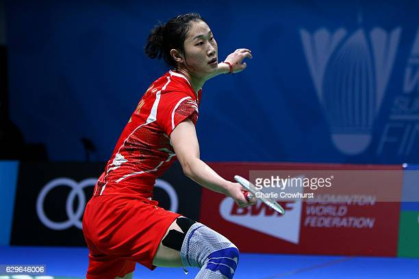 Sun Yu of China looks for the smash during her Womens singles match against Caroline Marin of Spain on Day One of the BWF Dubai World Superseries...