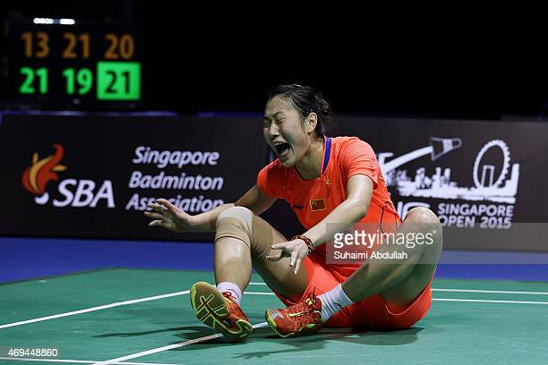 Sun Yu of China reacts after defeating Tai Tzu Ying of Chinese Taipei during the women's single final of the 2015 Singapore Open at Singapore Indoor...