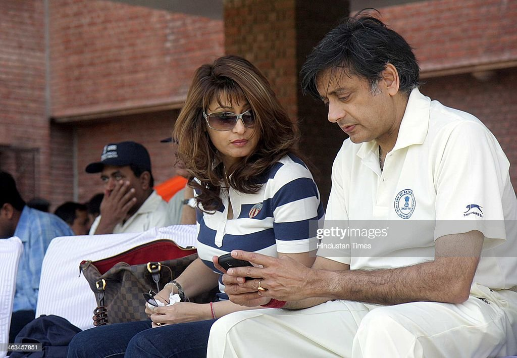 Sunanda Pushkar Tharoor and Shashi Tharoor, External Affairs Minister, during a friendly cricket match between FICCI and Ministry of External Affair (MEA) at Modern School Barakhamba on March 7, 2010 in New Delhi, India. Sunanda Pushkar, the 52-year-old industrialist wife of Union HRD minister Shashi Tharoor was found dead on Friday at a seven-star hotel where the couple had checked in together a day earlier, the police said. News of her death emerged late in the evening, coming within two days of her Twitter spat with a Pakistani journalist, Mehr Tarar, over an alleged affair with the minister. Pushkar, who has business interests in Dubai and was the Congress minister's third wife, was found dead in the bedroom of The Leela Palace suite number 345 around 8.15pm. Mehr Tarar, a columnist with Pakistan's Daily Times, reacted to the news of Pushkar's death in two consecutive tweets: What the hell. Sunanda. Oh my God and I just woke up and read this. Im absolutely shocked. This is too awful for words. So tragic I dont know what to say. Rest in peace, Sunanda.