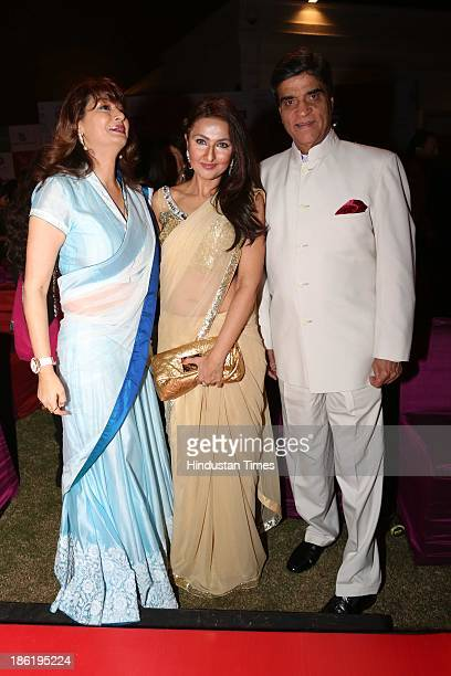Sunanda Pushkar with Shabanam Singhal and Suresh Nanda during Spanish Fiesta couture fashion show by Indian fashion designer Ritu Beri at residence...