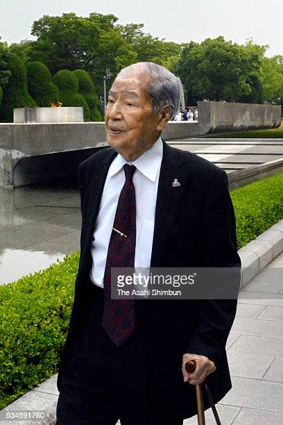 Sunao Tsuboi Abomb suvivor and the chairman of the Nihon Hidankyo Japan Confederation of A and HBomb Sufferers Organizations is seen on arrival ahead...