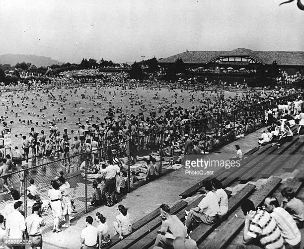 Sunbathers and swimmers crowd the North Park Public Swimming Pool Pittsburgh Pennsylvania 1950s Photo by PhotoQuest/Getty Images