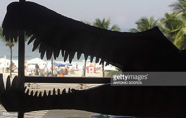 Sunbathers are seen in Copacabana beach through the open jaw of a prehistoric saurian replica 10 August 2005 during the opening of the II Latin...