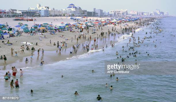 Sunbathers crowd the beach in Ocean City Maryland July 22 2017 / AFP PHOTO / Daniel SLIM