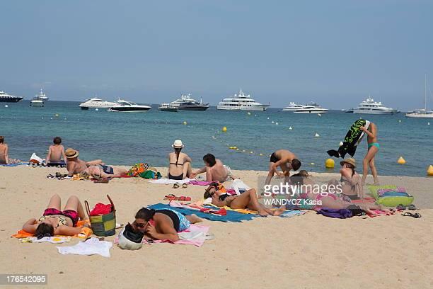 Sunbathers on Pamplonne beach on July 13 2013 in Saint Tropez France