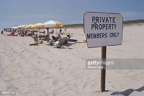 Sunbathers on the beach at Bridgehampton, New York, USA, August 1982.