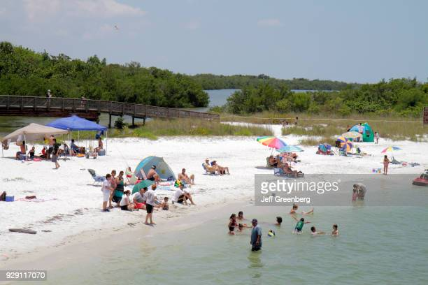Sunbathers on the public beach at Carl E Johnson State Park