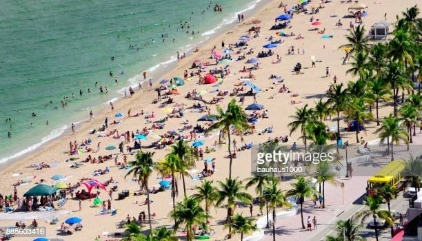 sunbathing and swimming--fort lauderdale beach - fort lauderdale stock pictures, royalty-free photos & images