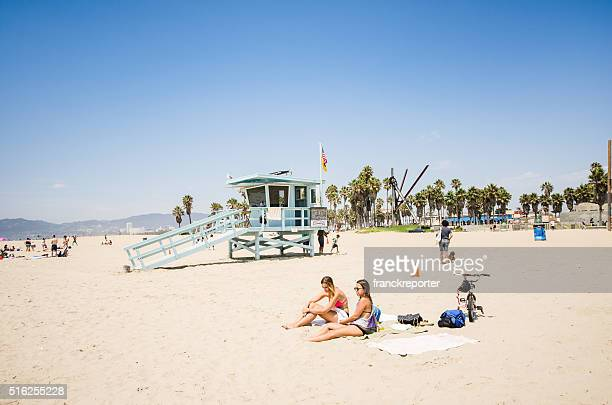 sunbathing on venice beach