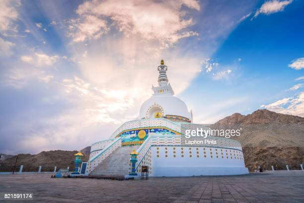 Sunbeam before sunset at Shanti Stupa in Ladakh
