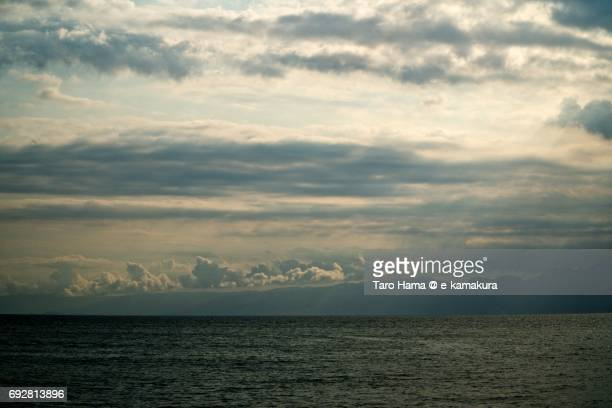 sunbeam in the sunset beach in sagami bay - utc−10:00 stock pictures, royalty-free photos & images