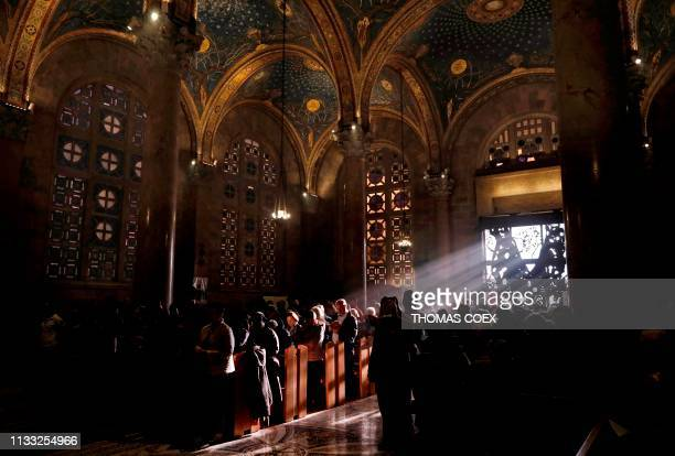 A sunbeam lights the Church of the Agony also called the Church of All Nations during a mass on March 27 2019 According the Christian tradition this...