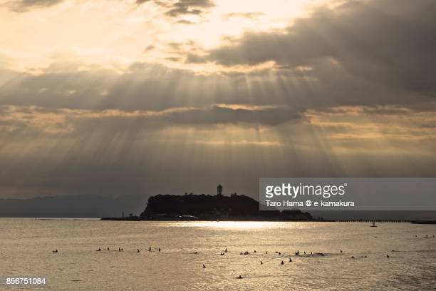 Sunbeam on Enoshima Island and Sagami Bay in the sunset