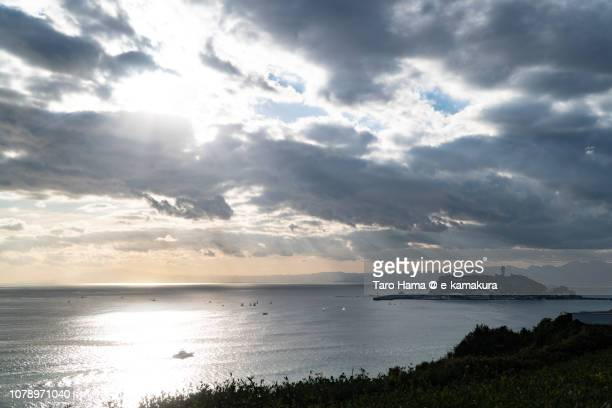 Sunbeam on Enoshima Island and Sagami Bay, Northern Pacific Ocean in Japan