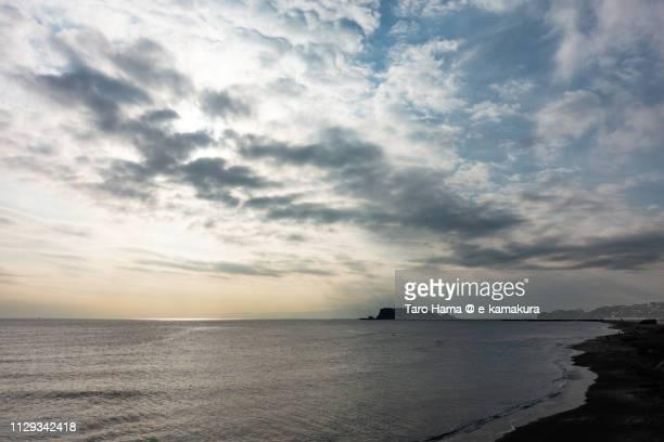 Sunbeam on Izu Peninsula, Enoshima Island and Sagami Bay, Pacific Ocean in Japan