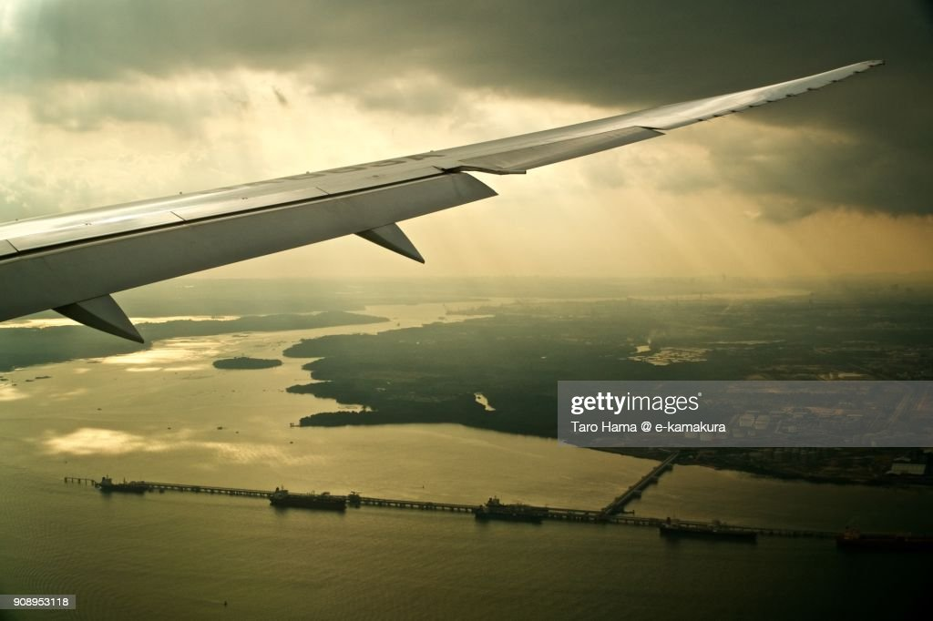 Sunbeam on Johor Strait in Malaysia day time aerial view from airplane : Stock-Foto