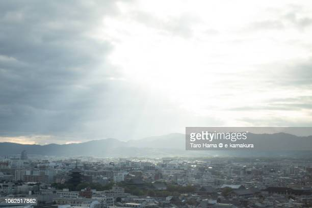 Sunbeam on Kyoto city in Kyoto prefecture in Japan